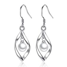 925 Sterling Silver Plated Pearl Round Drop Dangle Chain Earrings Long Hook Gift