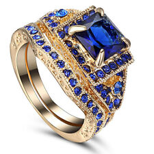 Filled Ring Size 7 W/Solitare Cz'S Blue Sapphire Cz's-2 In 1 Gold