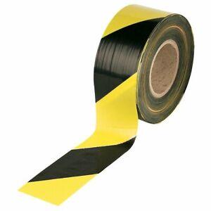 Barrier Hazard Warning Tape Non Adhesive Black&Yellow 500m Rolls Danger