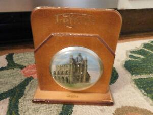 Vtg Handmade Wooden Table Letter Holder Whitby Church picture under plastic RARE