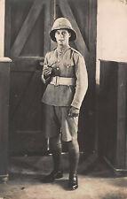 RPPC British Soldier Uniform Portrait Hat Malta WWI Military War Photo Postcard