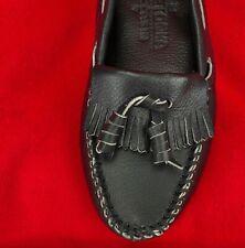 MINNETONKA MOCCASINS Boat Moc Fringe Shoes Women's Size 6 BLACK LEATHER