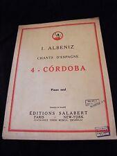 Partition Cordoba Albeniz Chants d'Espagne Salabert Music Sheet