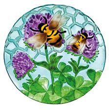 "Bee Honeycomb Glass Bowl Bird Bath 18"" Outdoor Garden Decor"