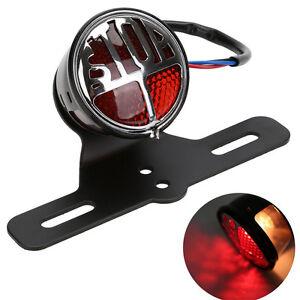 Blk 12V Stop Brake TailLight License Plate Bracket Fit For Harley Motorcycle LED