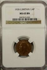 Great Britain Farthing 1928 NGC MS65 BN UNC King George V NGC Top Population 2/0