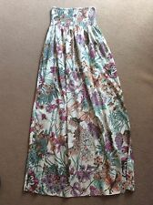 SEXY ATMOSPHERE BANDEAU STRAPLESS CREAM BOLD FLORAL PRINT MAXI DRESS 12 VGC