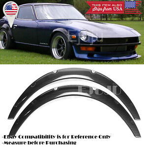 """1.75"""" Black Carbon Effect Flexible 2 Pieces Wide Fender Flares For Honda Acura"""
