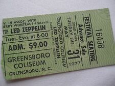 Led Zeppelin Original 1977 Concert Ticket Stub - Greensboro Coliseum