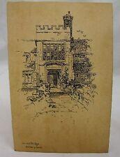 Baddesley Clinton PONTE addenbrooke Antico Warwickshire Penna E Inchiostro ARTE C. 1900 *