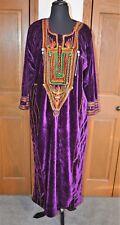 Women's Hand Made African Ceremonial Dress Kaftan Purple Crushed Velvet L/XL NM