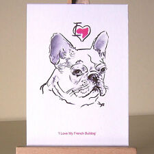 If you heart your Frenchie - I love my French Bulldog drawing miniature ACEO art