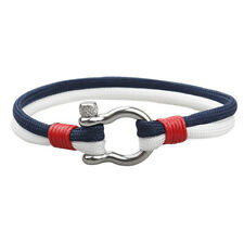 Men's Stainless Steel U Shaped Buckle Paracord Rope Nautical Sailing Bracelet