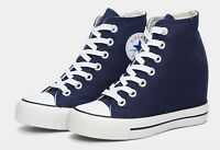 Preppy Womens Girls Hidden Wedge Canvas High-Top Lace Up Platform Sneakers Shoes