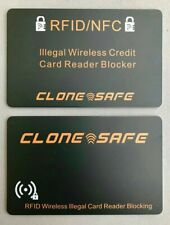 2 x CLONE SAFE®️ RFID & NFC Wireless Credit Card Illegal Reader Shield - Blocker