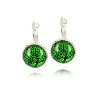 Vintage Style Green Black Art Tree of Life Silver Cabochon Drop Earrings E1069