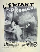 Adolphe Willette - DAS KIND Verlorene - Lithografie Originell,Unterzeichnet 1895