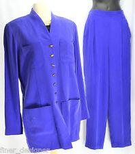 Dana Buchman 2 Pc pant Suit Pants Jacket Silk Blazer Jacket top sexy Chic 10 VTG