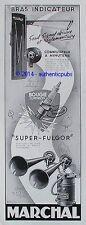 PUBLICITE MARCHAL BOUGIE CORINDON SUPER FULGOR BRAS INDICATEUR DE 1957 FRENCH AD