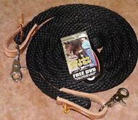 "Weaver Poly Roper Barrel Braided Reins 5/8"" 10 feet or 8 feet BLACK Horse Tack"