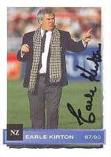 Earle kirton (87/90), cartes de pont de sports, NZ coach signé carte de commerce de rugby