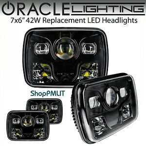 "ORACLE 7x6"" Sealed Beam 42W Replacement LED Square Headlights - Black Bezel"