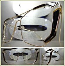 OVERSIZED VINTAGE RETRO CAT EYE Style Clear Lens EYE GLASSES Gold & Black Frame