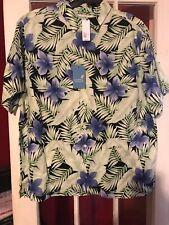 NWT 2xb Caribbean Blk Purple Linen/Cotton  Blend  Floral Shirt $79