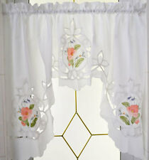 Coming Again!! Pretty Rose Embroidery Batten Lace Curtain White Swag One Piece