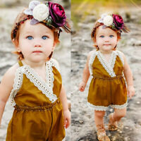 Toddler Kids Baby Girls Summer Strap Lace Romper Jumpsuit Pants Clothes Outfits