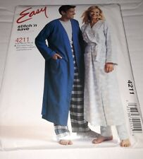 McCalls 4211 Misses Mens Teen Boy Robes Pull on Pants Easy Stitch n Save SML New