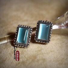 Boucle d`Oreille en Clip Vintage Pierre L`oeil de Tigre Bleu Super Mignon J3