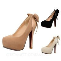 NEW VANCY evening Stiletto heel platform high heels Womens Bow Party Shoes Size
