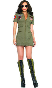 Womens 80s Top Pilot Fancy Dress Costume Ladies Gun Flight Aviator Costume
