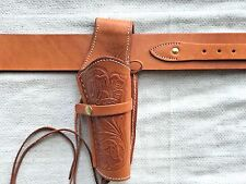 TAN Leather Holster and Belt Hand Tooled Embossed Leather Set 70201