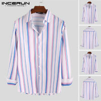 Men Long Sleeve Casual Striped Shirts Party Formal Button Down Shirt Tee Blouse