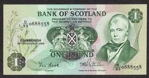 BANK OF SCOTLAND ONE POUND BANKNOTE 1986 MINT UNCIRCULATED SIR WALTER SCOTT