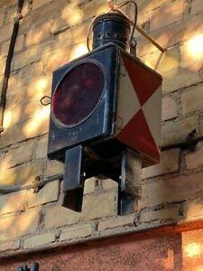 2 x Reichsbahn Lampe Signalleuchte Eisenbahn Bahnlampe rot weiss