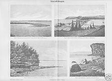 Stich v.1895 Küstenbildungen Steilküste Landzunge Barre