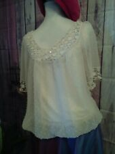 Vintage size 12/14 cream/ivory Swiss Dot bubble hem blouse and cami top.