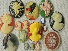 Huge Lot Jewelry Resin Findings Repair Crafts * Sale * Vtg Cameos 3-D 40x30mm
