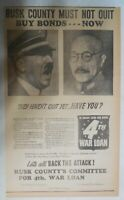 World War Two Ad: Hitler & Hirohito Have Not Quit !  1943 Size: 14  x 16  inches