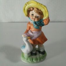 Girl and Duck Ceramic Figurine 5""