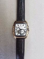 BULOVA AUTOMATIC SILVER DIAL BROWN LEATHER STRAP MEN'S WATCH 97A103 PRE-OWNED