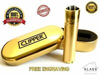 GOLD CLIPPER METAL LIGHTER WITH FREE ENGRAVING PERSONALIZED GIFT - WITH GIFT BOX