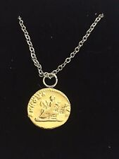 "Aureus Of Titus Coin WC83 Gold Pewter On a 16"" Silver Plated Chain Necklace"