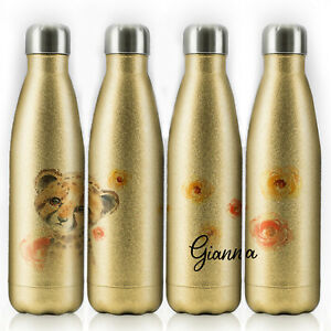 Personalised Water Bottle, Gold Glitter Stainless Steel Flask with Name, 500ml