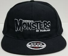 Famous Monsters Black Logo Black Baseball Cap Adjustable Snapback Hat