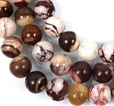 "8mm Natural Zebra Jasper Round Beads 16""  mix color Brown"