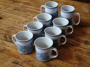 6 Coffee / Tea Cup & 2 Beer Stein Set - Ceramic Farmhouse - Bluebonnet Floral